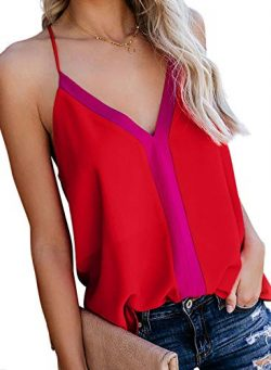 AlvaQ Women Tanks Color Block Sexy V Neck Spaghetti Strap Casual Sleeveless Camis Shirts Blouses ...