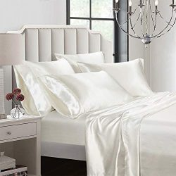 AiMay 6 Piece Bed Sheet Set Deep Pocket Luxury Rich Silk Satin Silky Super Soft Solid Color Hypo ...