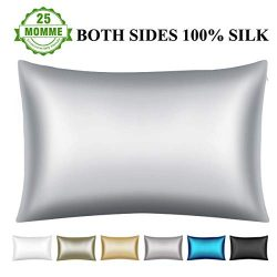 Wonwo 25 Momme Silk Pillowcase, Both Sides 100% Natural Mulberry Silk Pillow Covers Cases Queen  ...