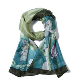 Invisible World Women's 100% Mulberry Silk Scarf Hand Painted Dragonfly Lotus