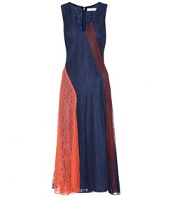 Tory Burch Iliana Dress Blue Orange Merlot Lace Panels 0