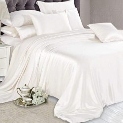 "Reliable Bedding 100% Pure Silk Satin Sheet Set 7pcs, Silk Fitted Sheet 15"" Deep Pocket,Si ..."