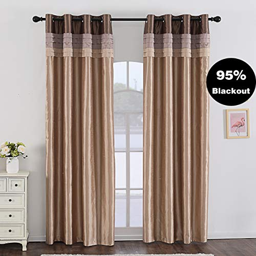 Jarl home 95% Gold Blackout Curtains for Bedroom Stitching Luxury Faux Silk Curtain with Darkeni ...