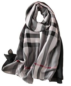 NUWEERIR Womens 100% Mulberry Silk Scarf Long Satin Scarf Fashion Designer Scarf Lightweight Wraps