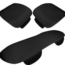 UHeng 3 PCS Car Seat Covers Pad Ice Silk Non-slip Breathable Cushion Mats