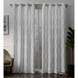 Exclusive Home Curtains Belmont Embroidered Woven Blackout Grommet Top Curtain Panel Pair, 52 ...