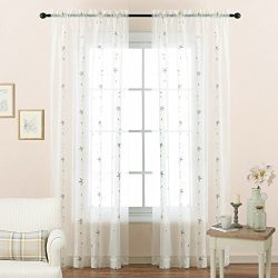 NICETOWN White Sheer Curtain Panels for Bedroom – Rod Pocket Floral Embroidery Sheer Voile ...