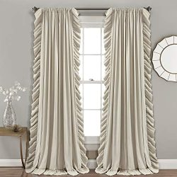 Lush Decor Reyna Wheat Window Curtains Panel Set for Living, Dining Room, Bedroom (Pair), 95R ...