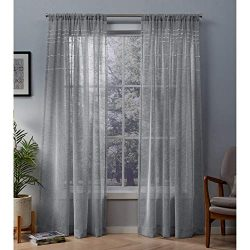 Exclusive Home Curtains Davos Puff Embellished Belgian Linen Sheer Window Curtain Panel Pair wit ...