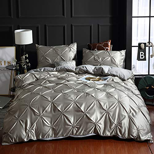 SMNJF 3 Piece Pinch Pleated Duvet Cover with Zipper Closure, White Pintuck Pinch Pleat Pattern ( ...