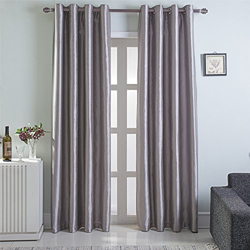 GYROHOME Heavy Faux Silk Blackout Curtains Fully Lined Solid Color Window Treatment Drapes for B ...