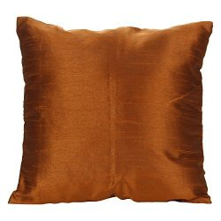 Set of 2 Metallic Brown Art Silk Pillow Covers, Plain Silk Cushion Cover, Solid Color Metallic B ...