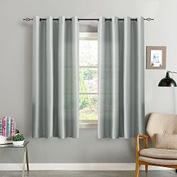 Faux Silk Window Curtains for Living Room 63 inch Length Dupioni Grey Curtain Panels for Bedroom ...