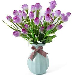 Beferr Water-Drop Tulip Flowers 4 Bunch Artificial Fake Silk Flower for Home Office Party Table  ...