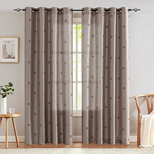 jinchan Faux Silk Flur De Lis Embroidered Curtains for Living Room Bedroom Embroidery Semi Sheer ...
