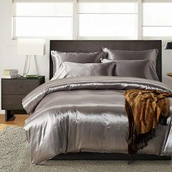 Kingla Home Luxury Soft Microfiber Satin Silk Bedding Sets King 3 Piece Duvet Cover Set (1 Duvet ...