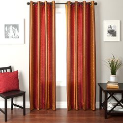 Softline Home Fashions Fantasy Series Faux Silk Window Panel/Treatment/Drape/Curtain, Red/Gold,  ...
