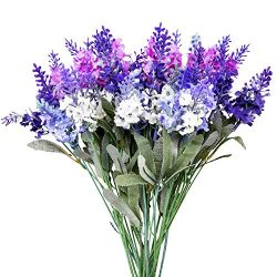 SKFLO Lavender Silk Flowers Decorations – 4 per Bunch with Stems – Handmade Lavender ...
