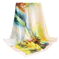 100% Silk Scarfs for Women, vimate Gift Idea Luxury Ladies Silk Hair Scarf for Sleeping, Square  ...