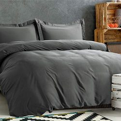 Bedsure 100% Bamboo Duvet Cover Set Full/Queen Size – Silky and Soft Touch Comforter Cover ...