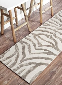 nuLOOM Zebra Hand Tufted Plush Wool Runner Rug, 2′ 6″ x 10′, Grey