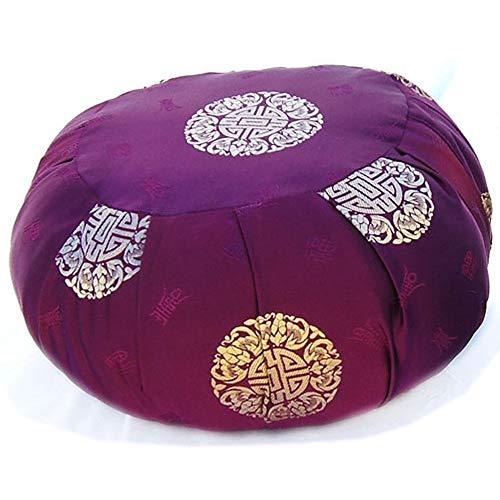 Taraluna Zen Zafu Sitting or Meditation Cushion with Silk Brocade Cover (Merlot/Gold)