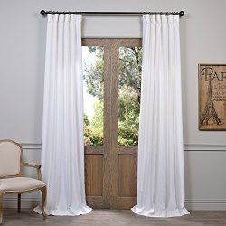 HPD Half Price Drapes FHLCH-VET13191-96 Heavy Faux Linen Curtain, 50 X 96, White