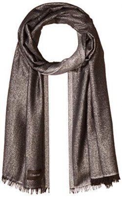 Calvin Klein Women's Lightweight Lurex Plaited Scarf, black, One Size