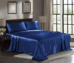 Satin Sheets Full [4-Piece, Navy] Hotel Luxury Silky Bed Sheets – Extra Soft 1800 Microfib ...