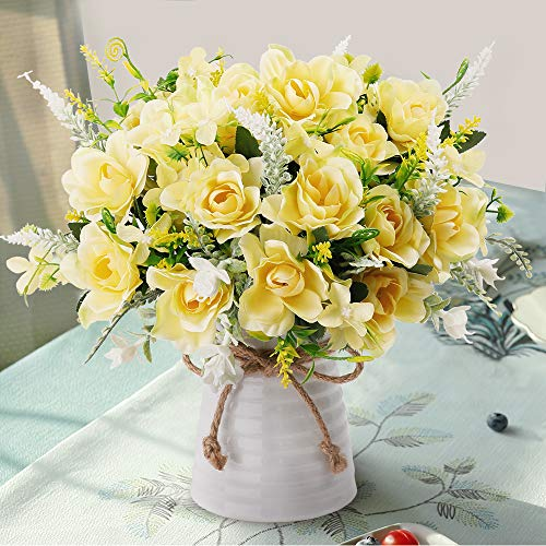 LESING Artificial Flowers with Vase Fake Silk Flowers in Vase Gardenia Flowers Decoration for Ho ...