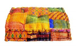 MARUDHARA Fully Assembled Indian Handmade Hand-Stitched Patola Silk Patch Kantha Floor Cushion;  ...