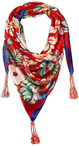 Johnny Was Women's Patterned Silk Square Scarf with Tassels, Red Multi, O/S