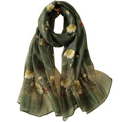 Alysee Women Warm Exquisite Silk&Wool Mixed Embroidered Scarf Headwrap Shawl Olive Green