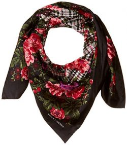 Vince Camuto Women's English Rose Plaid Square Scarf, black, One Size