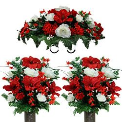 Sympathy Silks Artificial Cemetery Flowers – Realistic Vibrant Roses, Outdoor Grave Decora ...