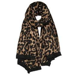 SOJOS Fashion Leopard Pattern Lightweight Chiffon Silk Women Scarf SC321 with Brown Leopard