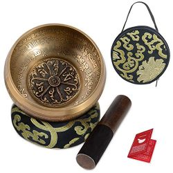 "SHANSHUI 5"" Tibetan Singing Bowl Set, Nepal Antique Bronze Mantra Carving Hand Hammered, S ..."
