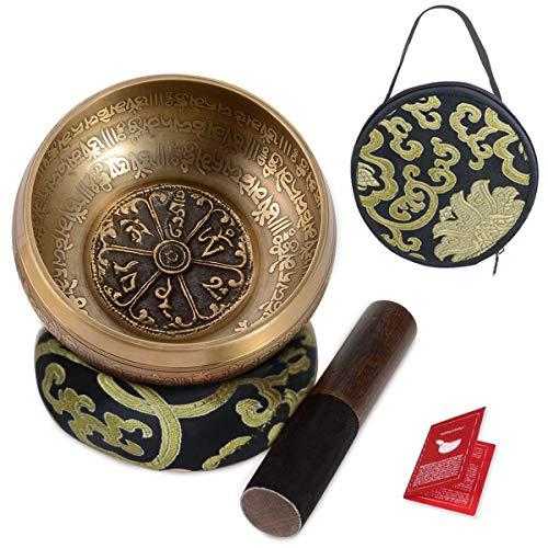 "SHANSHUI 5"" Tibetan Singing Bowl Set, Nepal Antique Bronze Mantra Carving Hand Hammered, S ..."