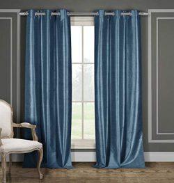 Duck River Textiles Bali Faux Silk Grommet Top Window Curtain 2 Panel Drape, 54″W x 84R ...