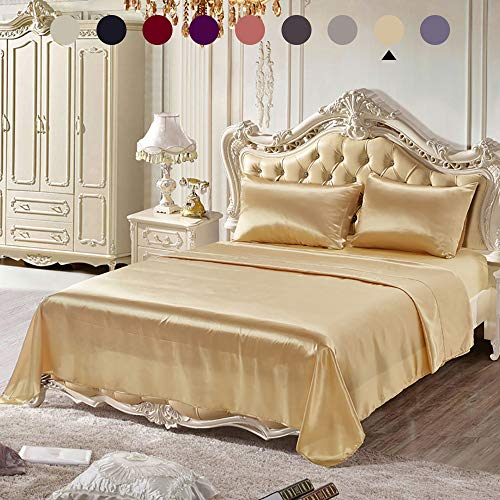 Chanyuan 4 Pieces Gold Satin Silk Bed Sheets Set Full Size Luxurious Smooth Silky Bedding Collec ...