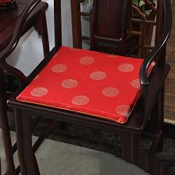 LJ&XJ Chinese Style Chair Pads, Thick Non-Slip Soft Comfortable Seat Cushion, Satin Dining C ...