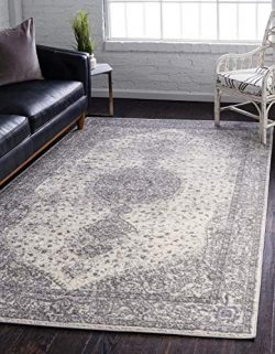 Unique Loom Bromley Collection Vintage Traditional Medallion Border Gray Area Rug (5′ 0 x  ...