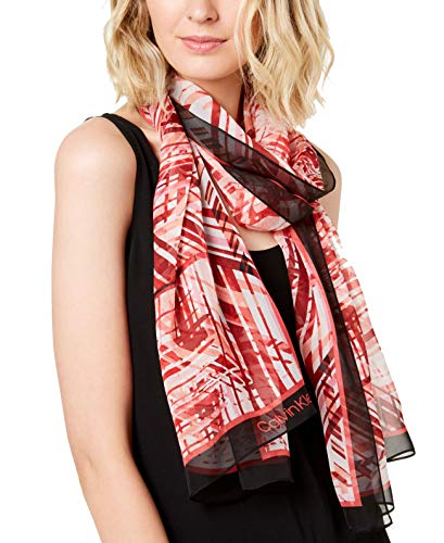 Calvin Klein Abstract Silk Chiffon Scarf (Rose Quartz, One Size)