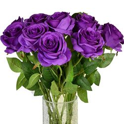 Amzali Artificial Flowers, Real Looking Fake Roses Long Stem Silk Artificial Rose Flowers Home D ...