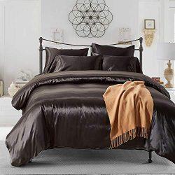 Kingla Home 3 Piece Satin Silk Bedding Sets Soft Microfiber Queen Duvet Cover Set Black Comforte ...