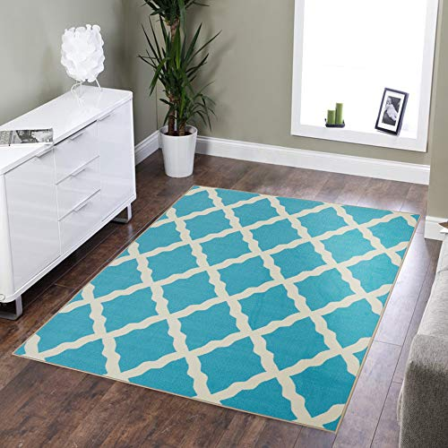 Silk Road Concepts SR-PNK7026-5X7 Collection Contemporary Rugs, 5′ x 6'6″, Blue
