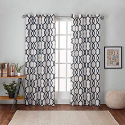 Exclusive Home Curtains Kochi Linen Blend Grommet Top Curtain Panel Pair, 54×84, Indigo, 2  ...