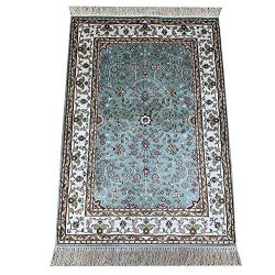 Camel Carpet 2x3ft Small Silk Hand Knotted Oriental Carpet Handmade Persian Rug (Blue)