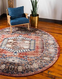 Unique Loom Utopia Collection Traditional Geometric Tribal Warm Tones Terracotta Round Rug (8 ...