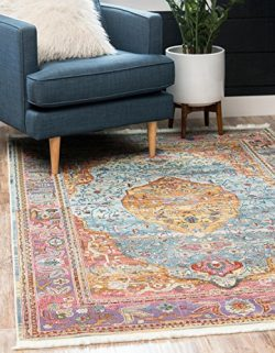 Unique Loom Baracoa Collection Bright Tones Vintage Traditional Light Blue Area Rug (5′ 5  ...